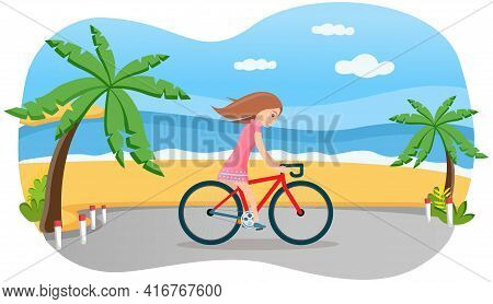 Girl Riding In Park. Woman Rides Bicycle On Coast Road. Female Character Doing Sports Outdoors