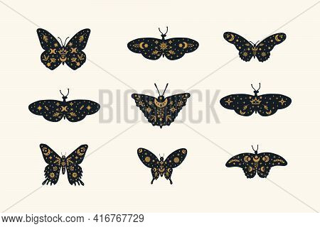 Set Of Black Butterflies With Gold Doodle Wings. A Collection Of Illustrations With Fluttering Insec