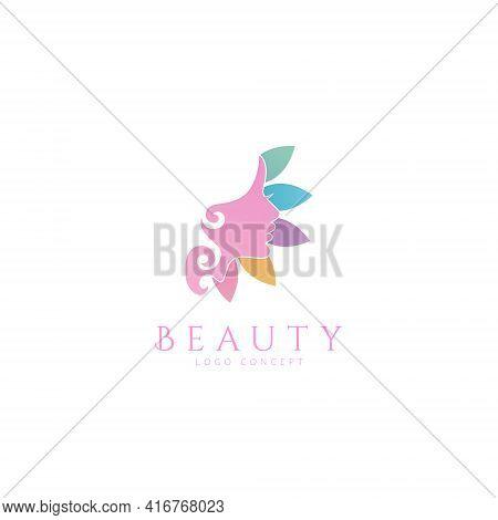 Beauty Floral Flower Face Logo Design Symbol Template Flat Style Vector Illustration