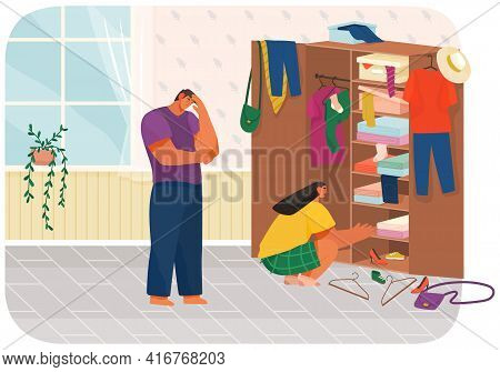 Family Doing Housework, Couple Man And Woman Clean House, Putting Clothes In Wardrobe Or Closet