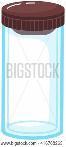 Vacuum Glass Bottle With Lid Vector Illustration. Durable And Reusable Transparent Water Bottle