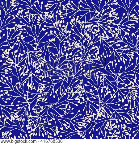 Seamless Pattern Dense Grass Plants Ornament, Leaves Branches Royal Blue White. Repeating Floral Nat