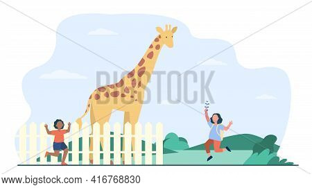Happy Children Watching Giraffe In Zoo. Girls Running, Tall Mammal Behind Fence Flat Vector Illustra