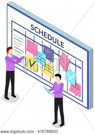 Employees Planning Schedule For Week. Timetable With To-do Plans. Men Are Looking At Reminder