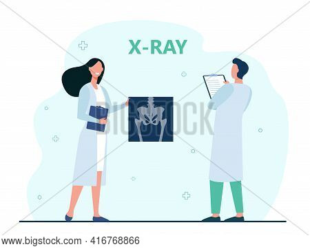 Doctors Examining Abdomen Radiograph. Medical Professionals, X-ray Examination Flat Vector Illustrat