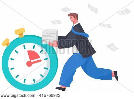 Large Stopwatch, Running Businessman Isolated On White. The Employee Is Late And Wants To Be On Time