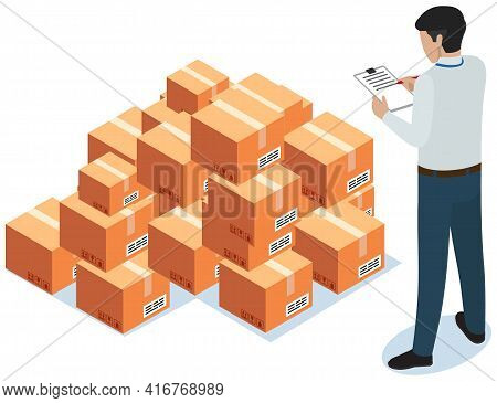 Man Makes Notes While Working With Parcels In Warehouse. Cardboard Boxes For Shipment From China