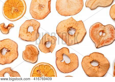 Dried Fruit Isolated On White Background. Dried Grapefruit, Dried Apple, Dried Pear Slices.