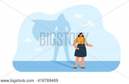 Happy Brave Woman With Super Hero Shadow. Strong Successful Female Leader Flat Vector Illustration.