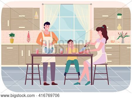 Happy Family Parents And Son Cook In Kitchen Together Flat Illustration. Prepearing Festive Dinner