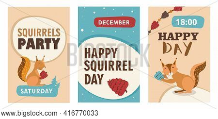 Stylish Invitation Designs With Happy Cartoon Squirrel Character. Party Invitations With Cute Orange