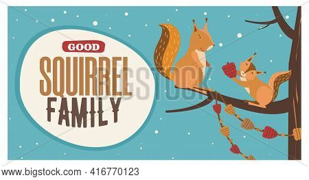 Colorful Background Design With Cute Cartoon Squirrel Characters. Small Mammal Giving Nut To Mother,