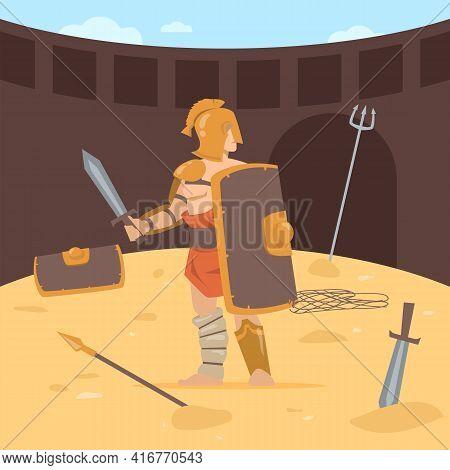 Roman Soldier With Sword And Shield, Wearing Armor, Helmet. Cartoon Vector Illustration. Gladiator F