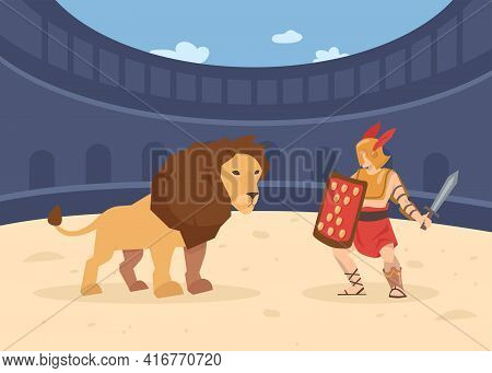 Roman Soldier With Sword And Shield Fighting With Lion. Cartoon Vector Illustration. Gladiator Fight