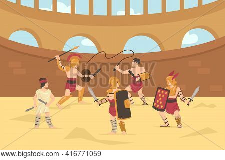 Roman Armored Soldiers Fighting With Swords, Spears And Whips. Cartoon Vector Illustration. Gladiato