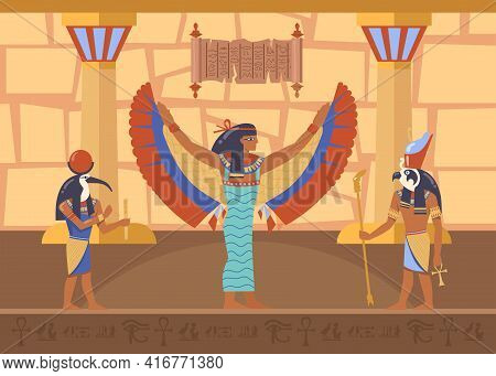 Egyptian Winged Goddess Maat Surrounded By Horus And Thoth Deities. Cartoon Vector Illustration. Egy