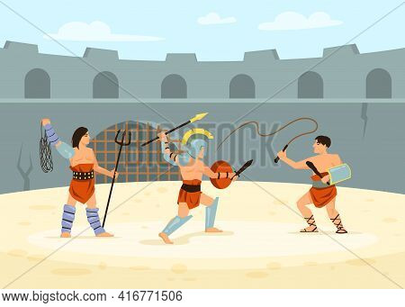 Roman Soldiers Defeating Each Other In Battle On Arena. Cartoon Vector Illustration. Gladiator Fight