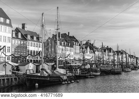 Copenhagen, Denmark - December 9, 2017: Nyhavn Or New Harbour View With Old Sailing Ships, It Is A 1