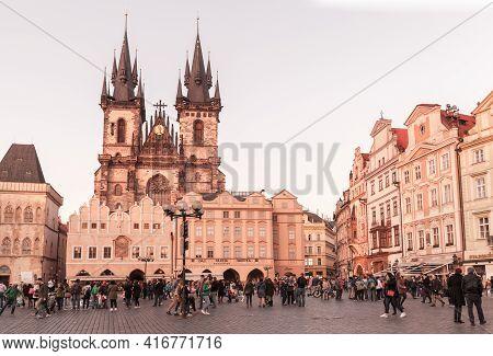 Prague, Czech Republic - April 30, 2017: People Walk The Old Town Square In Prague Near The Church O