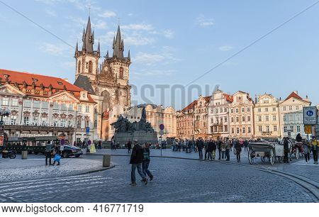 Prague, Czech Republic - April 30, 2017: People Are On The Old Town Square In Prague. The Church Of