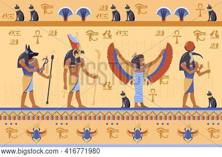 Egyptian Deities On Ancient Bas Relief With Hieroglyphs. Cartoon Vector Illustration. Horus, Thoth,