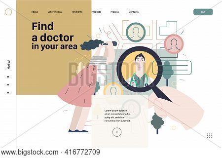 Find A Doctor - Medical Insurance Illustration. Modern Flat Vector