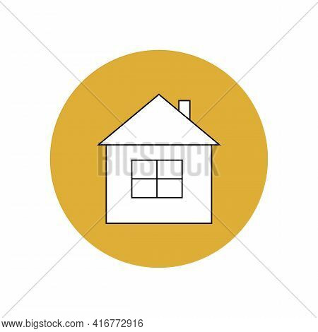 House Icon White With Black Outline In A Yellow Circle. Travel To A Tourist Destination. Overnight A