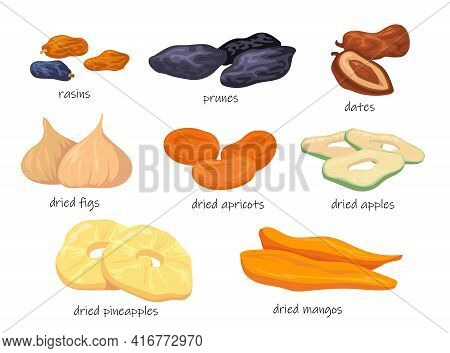 Colorful Sweet Dry Fruit Snacks Flat Pictures For Web Design. Cartoon Dried Raisins, Prunes, Figs, A