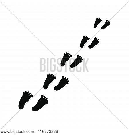 Line Of Foot Black Icon Set. Foot Trail. Bare Human Footprints Track. Vector Illustration.