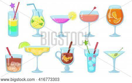 Creative Popular Alcohol Cocktails Flat Pictures Set. Cartoon Gin, Martini, Gluehwein, Juice, Pina C