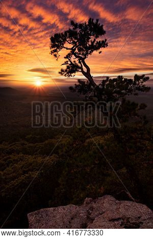 Sunset From The Overlook At Petit Jean State Park In Arkansas