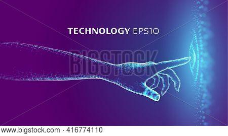Vr Hand Touch Signature. Fingerprint Unlock Virtual Reality Technology. Touch Data Network. Data Sci