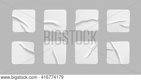 White Square Glued Stickers Mock Up Set. Blank White Adhesive Square Paper Or Plastic Sticker Label