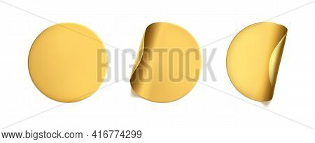 Gold Round Crumpled Stickers With Peeling Corner Mock Up Set. Adhesive Golden Foil Or Plastic Sticke