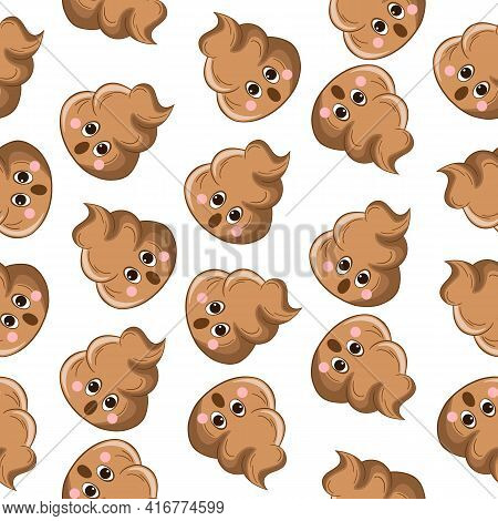 Seamless Pattern With Kawaii Poop On White Background. Cartoon Poo, Feces Icons. Shit Patterns, Evil