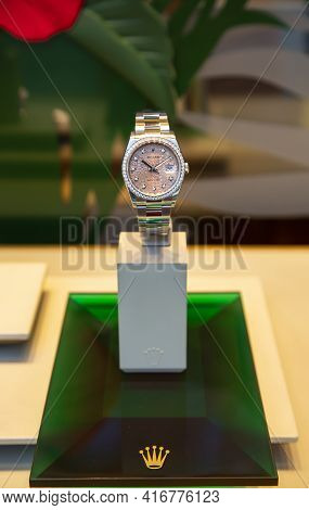Spain, Barcelona, March, 2021: Rolex Watch White Gold With Diamonds On An Original Stand In A Shop W