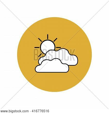 Cloud And Sun Icon With Black Outline In Yellow Circle. Cloudy And Sunny Weather Forecast. Meteorolo