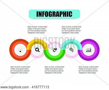 Creative Concept Of Stacking Circles Together Design Presents 5 Steps. Presentation Business Infogra