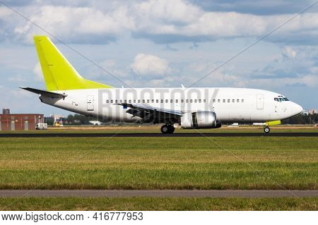 Untitled Airplane. Passenger Plane. Aircraft Without Title At Airport. Aviation Theme. Landing And A