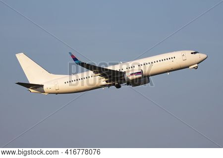 Untitled Airplane. Passenger Plane. Aircraft Without Title At Airport. Aviation Theme. Take Off And