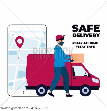 Covid-19. Quarantine. Coronavirus Epidemic. Delivery Man In A Protective Mask Delivers Parcel By Car