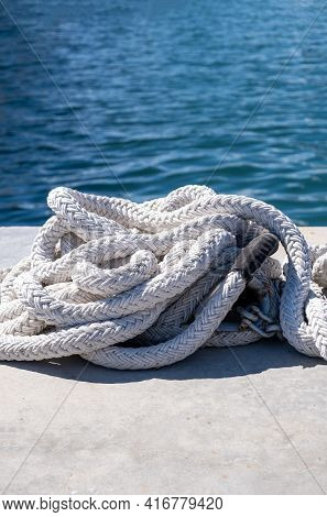 Mooring Rope White Color On Luxury Yachts Marina Pier
