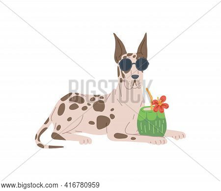 Dog Breed Great Dane In Sunglasses With Tropic Cocktail A Vector Illustration.