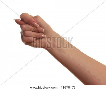 Gesturing with finger hand, isolated on white background