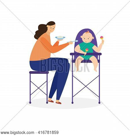 Mother Feeds Her Baby From Plate With Spoon, Flat Vector Illustration Isolated.