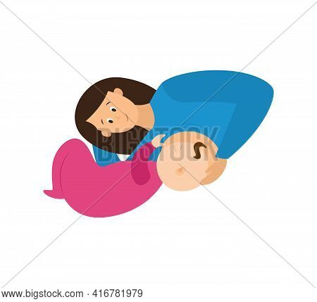 Mother Laying On Her Side Breastfeeding Baby, Flat Vector Illustration Isolated.