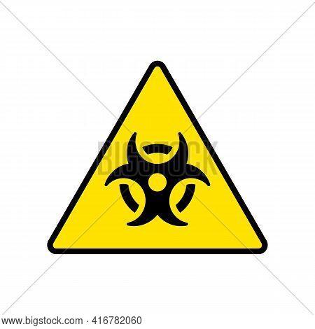 Bio Hazard Vector Yellow Sign. Biohazard Icon Isolated On White Background. Vector Illustration Eps