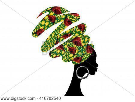 Portrait African Woman In Turban. Shenbolen Ankara Headwrap. Afro Girl In Traditional Headtie Scarf.