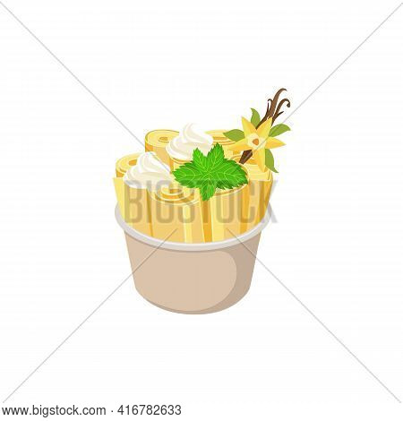Vanilla Stir-fried Rolled Ice Cream In Cup, Flat Vector Illustration Isolated.
