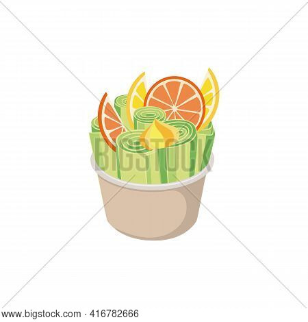 Stir-fried Ice Cream With Citrus Fruits, Flat Vector Illustration Isolated.